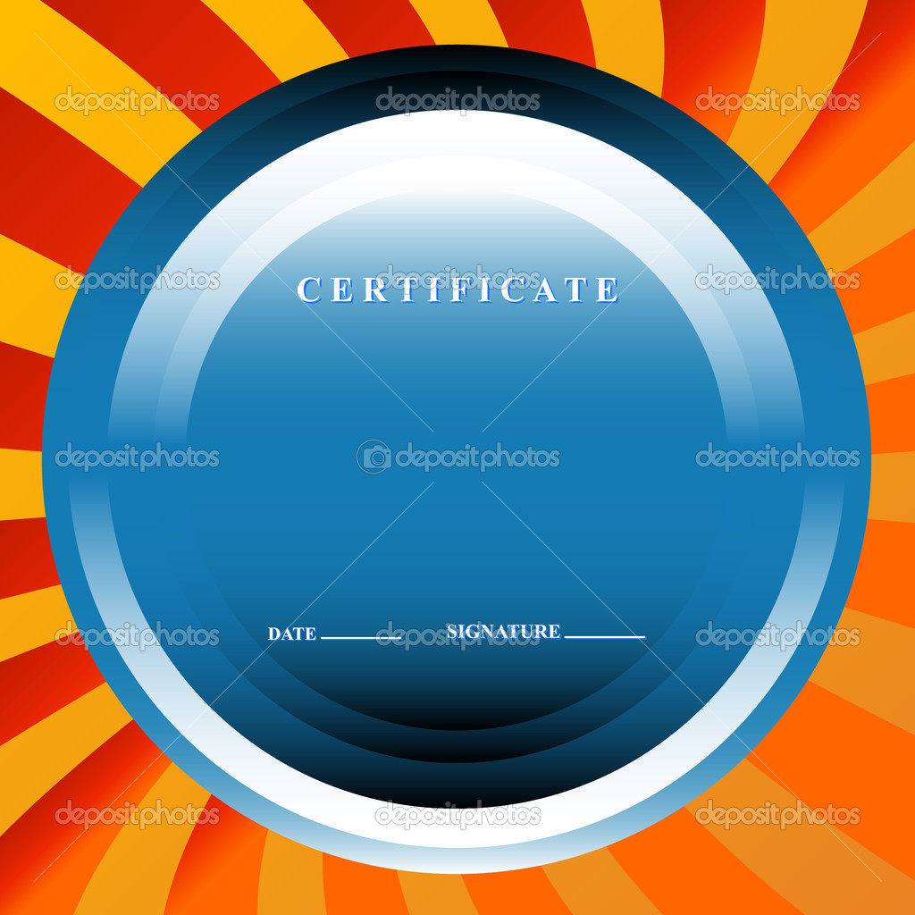 The blue certificate in unique style on an orange background — Stock Vector #12836155