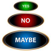Sí no y tal vez - tres signos — Vector de stock