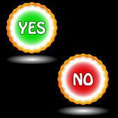 Knappar ja och nej — Stockvektor