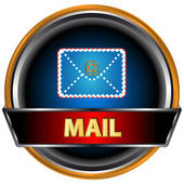 Blue button email — Stock Vector