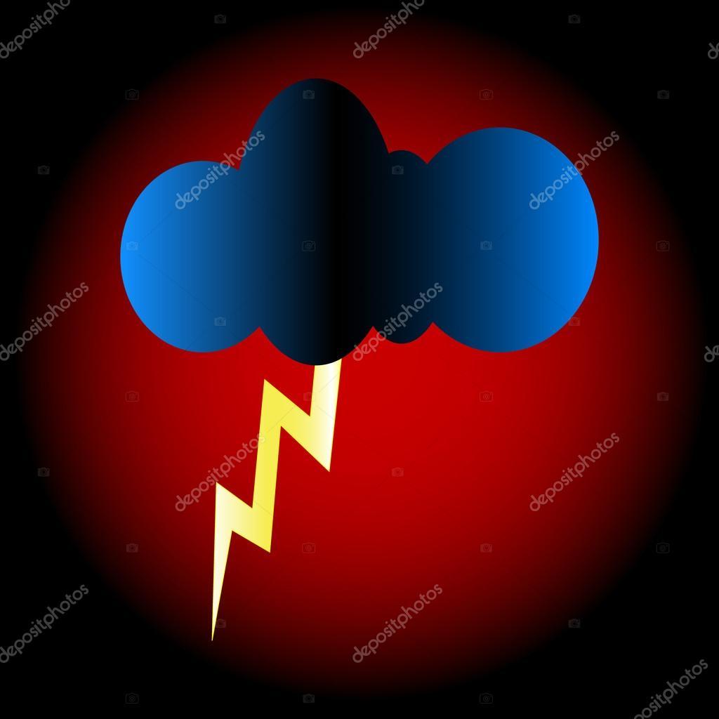 闪电和云 — 图库矢量图像08
