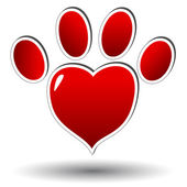 Red paw of an animal — Stock Vector
