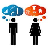 Tänkande män och kvinnor — Stockvektor