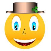 クローバーとの帽子を笑顔します。 — ストックベクタ
