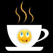 Bir gülümseme ile kahve simgesi — Stok Vektör
