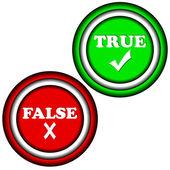 Knappar sant och falskt — Stockvektor