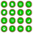 Stock Vector: Set of green buttons