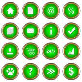 Yeşil düğme kümesi — Stok Vektör
