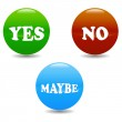 Yes No and Maybe icons — Stock Vector