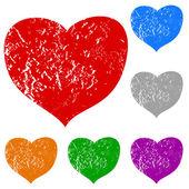 Grunge hjärtan set — Stockvektor