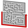 Maze Puzzle Solution — Stock Vector