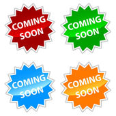 Vector coming soon labels set — Stock Vector