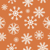 White snowflakes on brown background — Stock Vector