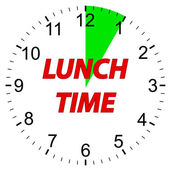 Lunch time clock. — Vettoriale Stock