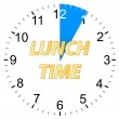 Lunch time clock — Stock Vector
