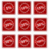 Icons with percent — Stock Vector