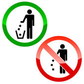No littering triangle signs — Stock Vector