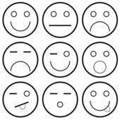 Vector icons of smiley faces — Stock Vector