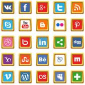 Gold social media icons — Stock Vector