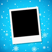 Photo frame on a snowy background — Stock Vector