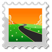 Road into the unknown stamp — Stok Vektör