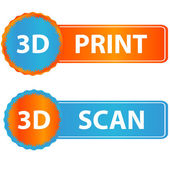 3d print and scan icons — Stock Vector
