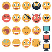 Vintage set of glossy Emoticons — Stock Vector