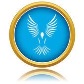 Modrý pták ikona — Stock vektor