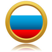 Russia Flag Glossy Button — Stock Vector