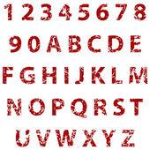 Grunge tam alfabe ve numaralar — Stok Vektör