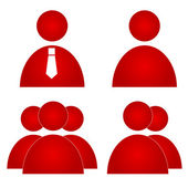 Red users icons — Stock Vector