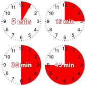 New red set hours — Stock Vector