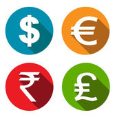 Currency flat icons set — Stock Vector