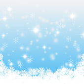 Christmas blue background with snow flakes — Stock Photo