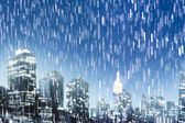 Rainy night in Manhattan — Stock Photo