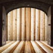 Opened church doors, behind wooden wall — Stock Photo #13591552