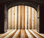 Opened church doors, behind wooden wall — Stock Photo