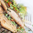 Baked salvenius filet on lentil salad - Stock Photo