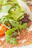Beef Carpaccio with Parmesan Cheese — Stock Photo