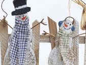 ビンテージ クリスマス雪だるま — ストック写真