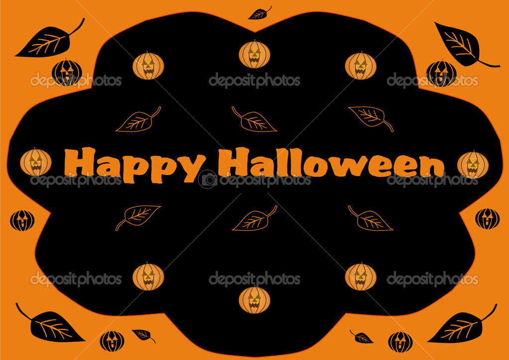 Happy Halloween background illustration with pumpkins and leaves — Stock Photo #12695606