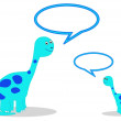 Dinosaurs with speech bubbles - Stockfoto