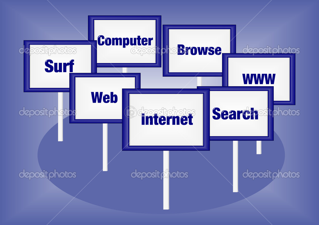 Internet concept illustration with signs and text — Stock Photo #13817929