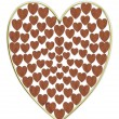Heart illustration wood and gold - Stockfoto