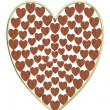 Heart illustration wood and gold - 