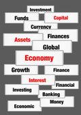 Economy finance concept words — Stock Photo