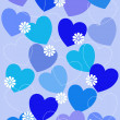 Hearts background blue — Stock Photo