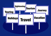 Travel vacation signs — Stock Photo
