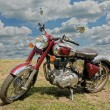 Classical red motorcycle — Stock Photo