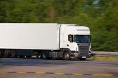 White trailer transporting cargo — Stock Photo